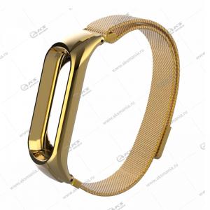 Ремешок на Mi Band 3/4 миланская петля золотой