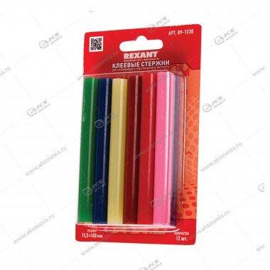 Клеевые стержни Rexant D=11мм x 100мм, цветные., 12шт., блистер