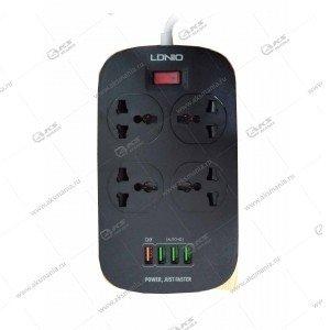 Сетевой фильтр LDNIO 4 розетки 2м (SC4407Q) +4 USB 3,4A черный