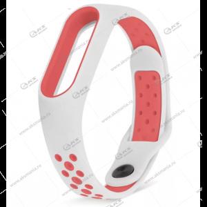 Ремешок на Mi Band 3/4 Перфорированный белый с красным