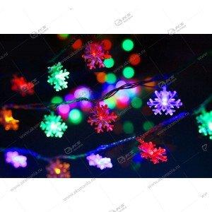 "Гирлянда ""Снежинки"" 40 LED в коробке разноцвет."