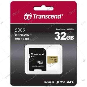 Карта памяти 32GB microSDHC class 10 Transcend 90MB/s с адаптером SD