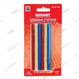 Клеевые стержни Rexant D=7мм x 100мм, цветные., 12шт., блистер