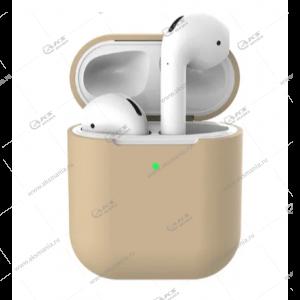 Силиконовый чехол для AirPods Case Protection бежевый