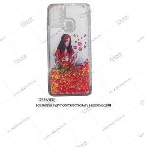 Силикон Аквариум Huawei Honor 9A Девушка с телефоном белый