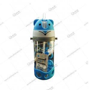 Детская бутылочка с трубочкой 300мл синий