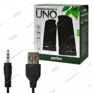 "Компьютерные колонки Perfeo ""UNO"" 2.0, мощность 2х0.5 Вт (RMS), чёрн, USB  (PF-210)"