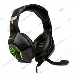 Гарнитура полноразмерная игровая Dialog HGK-28L Gan-Kata с регулятором громкости, чёрно-зеленая