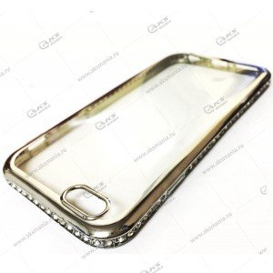 Силикон Samsung S7 стразы по кругу серебро