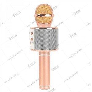 Беспроводной караоке микрофон WS-858 розовое золото