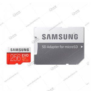 Карта памяти MicroSDXC 256GB Samsung Class 10 Evo Plus U3 (R/W 100/90 MB/s) + SD адаптер
