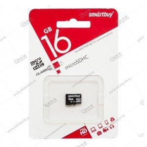 Карта памяти 16GB microSDHC class 6 SmartBuy без адаптера