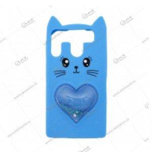 Силикон универсальный 4.7-5.0 Котик с 3D сердечком-переливашкой голубой