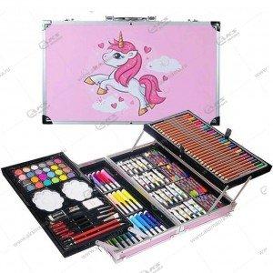 Набор для рисования в металлическом чемоданчике 147 предметов розовый