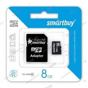 Карта памяти 8GB microSDHC class 10 SmartBuy с адаптером SD