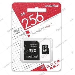 Карта памяти 256GB microSDXC class 10 UHS-1 SmartBuy с адаптером SD