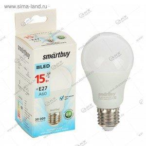 Лампа светодиодная Smartbuy A60-15W-220V-4000К-E27 (белый свет)