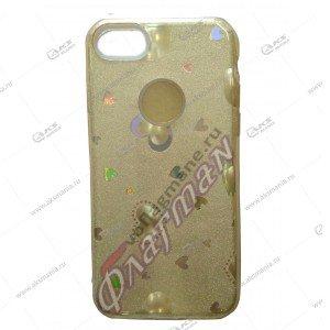 Силикон блестки iPhone 7G 3в1 сердечки золотой