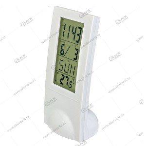 "Часы-будильник Perfeo ""Glass"", белый, (PF-SL2098) время, температура, дата"