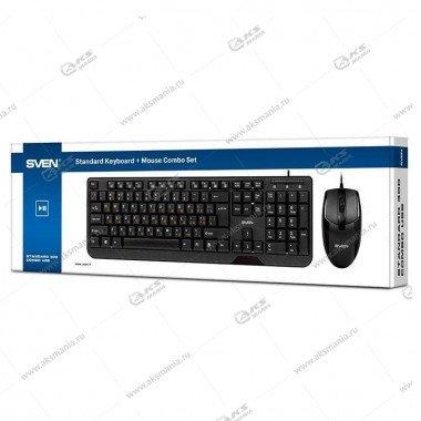 Комплект проводной SVEN Standard 300 Сombo клавиатура + оптич. мышь,  USB, черный