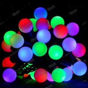 Гирлянда уличная чёрный провод 100LED матовый шар 10м цветная
