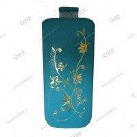 Чехол кожа с язычком Nokia 230 la fleur эра бирюзовый