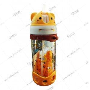 Детская бутылочка с трубочкой 300мл оранжевый