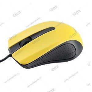 Мышь проводная Perfeo Rainbow оптическая, 3 кн, USB, 1,8м, (PF-353-OP) черно-желтый