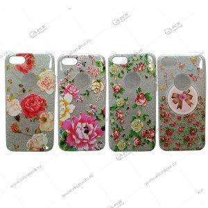 Силикон блестки iPhone 7G 3в1 цветок серебро