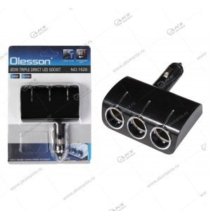Разветвитель прикуривателя Olesson 1520 на 3 прикуривателя, 1 USB выход