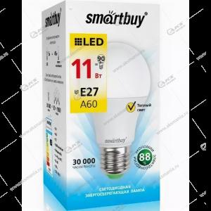 Лампа светодиодная Smartbuy A60-11W-220V-3000К-E27 (теплый свет)