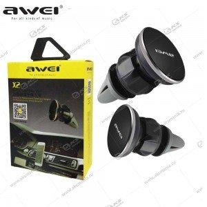 Автодержатель Awei X2 для телефона в вентиляцию магнитный черный