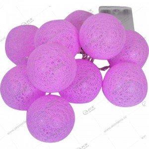 """Гирлянда """"Большие розовые текстильные шарики"""" силиконовый провод"""