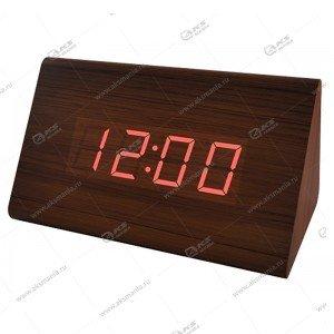 Часы Perfeo Trigonal PF-S711T коричневый корпус/красная подсветка
