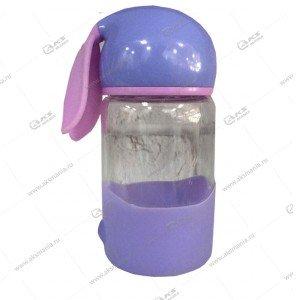 Детская бутылочка с ушками 350мл лавандовый