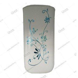 Чехол кожа с язычком (11х5,5см) la fleur эра белый