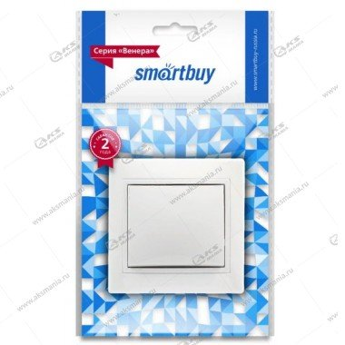 """Выключатель Smartbuy, скрыт. установ., 1-клавишн. 10A, белый,керам., """"Венера"""" (SBE-01w-10-SW1-0-c)"""