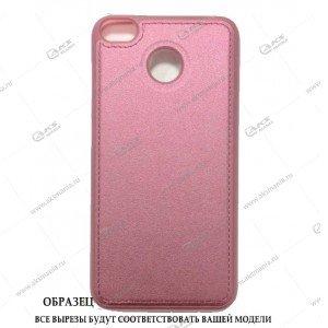 Силикон Samsung J5 Prime кожа с логотипом розовый
