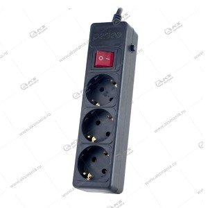Сетевой фильтр Perfeo POWER+ 5м, 3 розетки чёрный