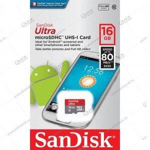 Карта памяти 16GB microSDHC class 10 SanDisk Ultra 80MB/s без адаптера