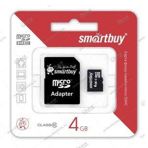 Карта памяти 4GB microSDHC class 10 SmartBuy с адаптером SD