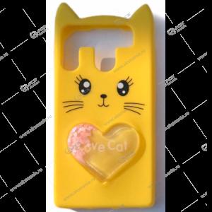 Силикон универсальный 4.7-5.0 Котик с 3D сердечком-переливашкой желтый