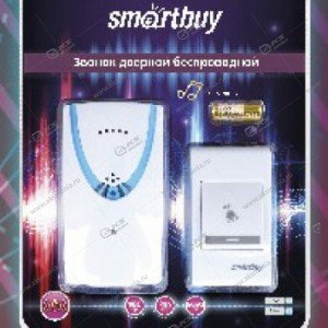 Беспроводной дверной звонок Smartbuy 100м радиус, 2xAAA, 32 мелодии, белый (SBE-11-1-32)