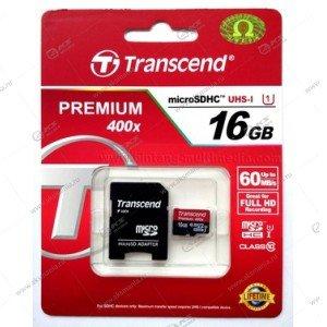 Карта памяти 16GB microSDHC class 10 Transcend 60MB/s с адаптером SD