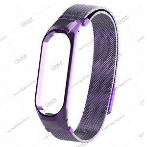 Ремешок на Mi Band 3/4 миланская петля Greatcase фиолетовый