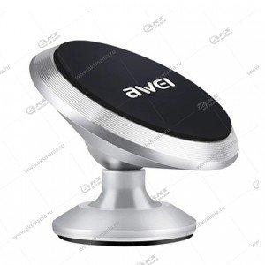 Автодержатель Awei X6 для телефона/на торпеду/магнитный серебро