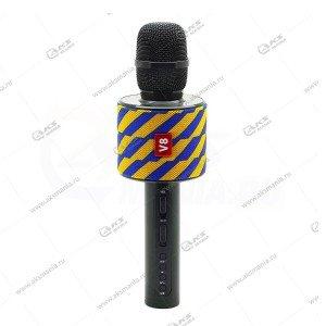 Беспроводной караоке микрофон Charge V8 желто-синий узор