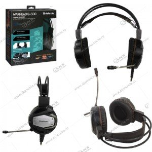 Гарнитура полноразмерная игровая Defender Warhead G-500, кабель 2,5м, черн./коричневые
