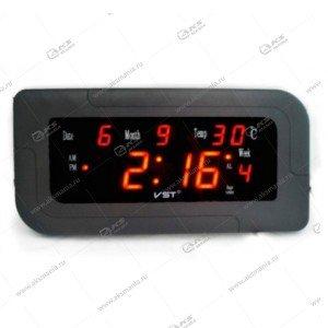 Часы настенные-дата-температура VST-739W/1 красный