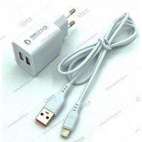 СЗУ Denmen DC05L 1USB 2.4A + кабель Lightning белый
